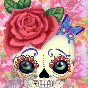 pop art print sugar skull