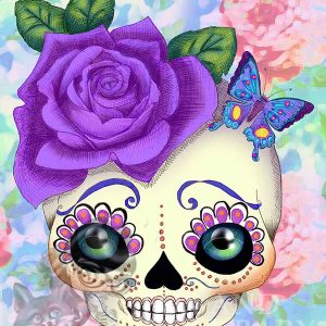 pop art sugar skull print