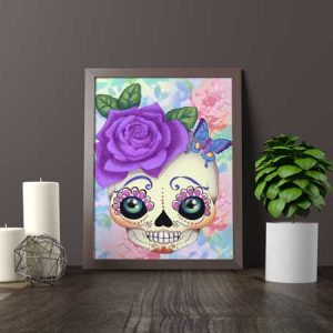 Pop art sugar skull purple print