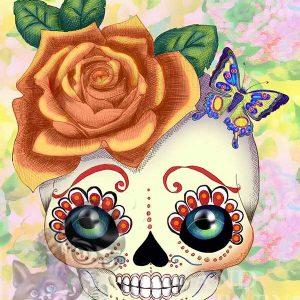 Blythe doll print of skull