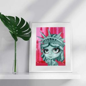 pop surreal artist lady liberty print