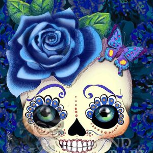 Pop Surrealism blue sugar skull