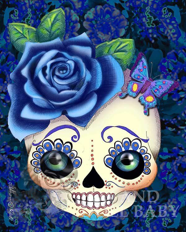 Pop Surrealism blue sugar skull