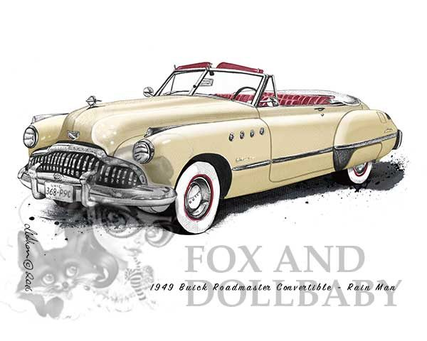 1949 Buick Roadmaster Convertible from the movie Rain Man Special Edition Art Prin