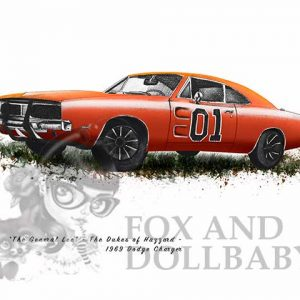 1969 Dodge Charger 'General Lee' from the movie Dukes of Hazard Special Edition Car Art Print