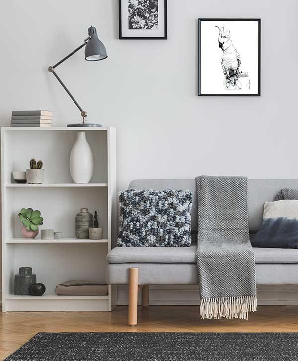 Australian Cockatoo on branch Special Edition Bird Art Print