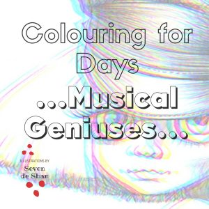 Musical Geniuses colouring in book by artist de Shan