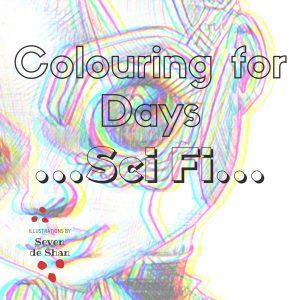 Sci Fi colouring in book by artist de Shan